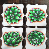SUCCULENT COASTERS hand painted - set of 4