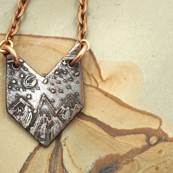 Chevron Mountain Scene Necklace Copper Pendant Necklace