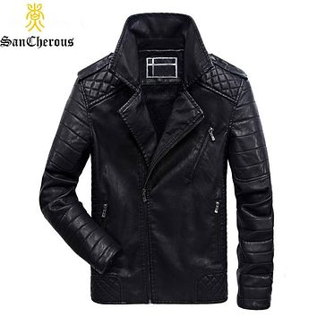 2019 Plus Size Winter Casual Men's Motorcycle Pu Leather Jacket Windproof Jacket Multi-pocket Leather Jacket Size L-6XL
