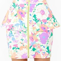 Neon Bloom Peplum Skirt