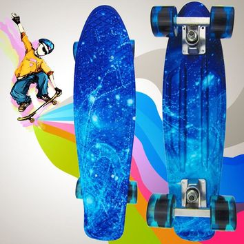 Hip-hop Retro Child Skateboard Penny Skate Board Starry Sky Pattern