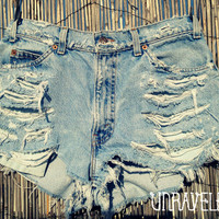 High Waisted Denim Shorts MEDIUM by UnraveledClothing on Etsy