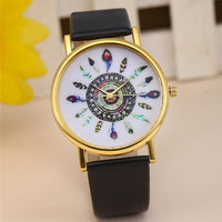 Boho Feather Watch with Black Band