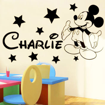 New 2017 Vinyl Mickey Mouse wall Sticker Personalised Any Name With Stars Boys Wallart Pegatina For Kids Rooms Size 45x60CM