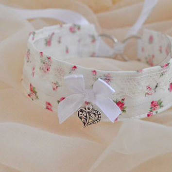 Vintage romance - victorian choker - kawaii cute neko lolita cat kitten pet play collar with roses - pink white and ivory