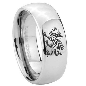 8MM Classic Mirror Dome Dragon Tungsten Carbide Silver Engraved Ring