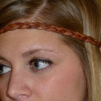 "Leather Flat Braided Headband - Red Brown or Black - 1/3"" wide"