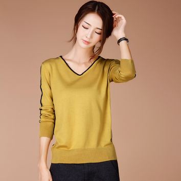 New Brand Women Clothing Autumn and Winter Women Fashion Knit Sweater Casual Loose Long Sleeved V-Neck Pullover