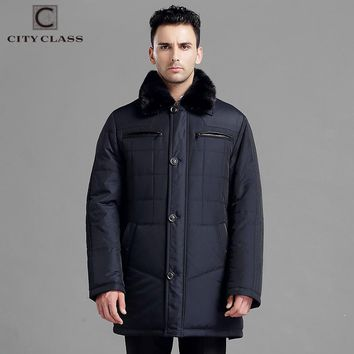 New Men Thick Warm Winter Jacket Classic Slim Fit Long Coats Leather Removable Mink Collar Outerwear