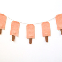 Orange dreamsicle popsicle banner, felt wall hanging