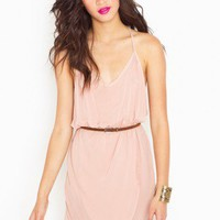 Racerback Wrap Dress - Blush - NASTY GAL