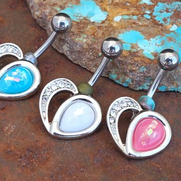 Opal Heart Belly Button Navel Ring