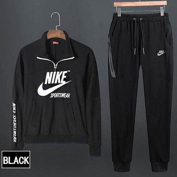 NIKE Fashionable Women Men Casual Print Top Sweater Pants Sweatpants Set Two-Piece Sportswear Black