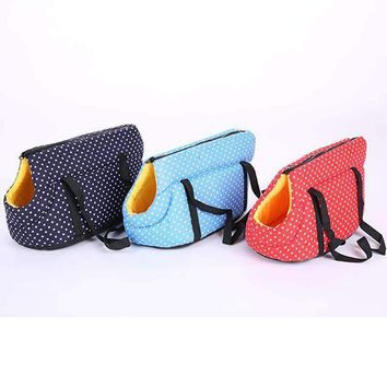 Portable Pet Bag Dog Carrier ,Travel Transporting Bags for Cats and dogs Polka Dots Backpack Bag for small Dog Outside Pet Products