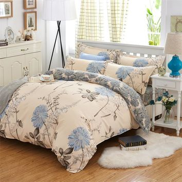 Home textile simple blue flowers bedding sets thick cotton polyester fabric twin full Queen King size flat sheet set pillowcase