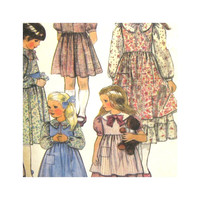 McCalls 8681 Vintage Uncut Pattern Little House on Prairie Girls Dress and Pinafore Size 7