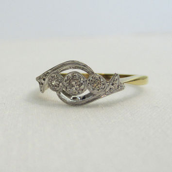Deco Engagement Ring. Amazing Diamond Swirl Ring, Circa 1920s.