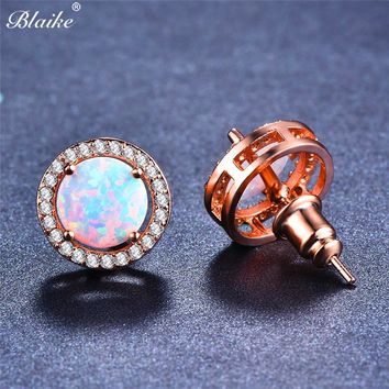 Blaike Rose Gold Filled White/Blue Fire Opal Stud Earrings For Women Vintage Fashion 8MM Round Birthstone Four Claw Earring Gift