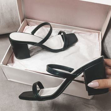 Class Act 90's Black Strappy Square Toe Heel