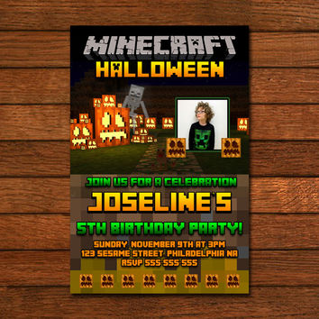 Minecraft Halloween Invitation