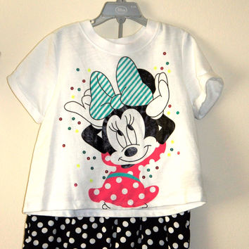 Disney Store Minnie Mouse Summer Spring Top & Skirt Set Outfit Girls Size:9/10