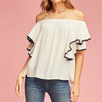 Entro Crinkled Off Shoulder Top