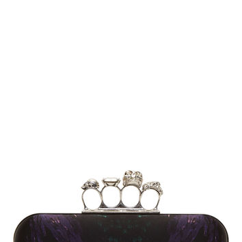 Alexander Mcqueen Black And Violet Moth Print Knucklebox Clutch