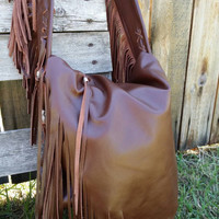 Fringe Soft Chocolate Brown  Leather  Bohemia Summer Handbag