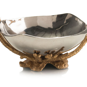 Nickel Bowl w/ Brass Stand, Decorative Bowls & Centerpieces