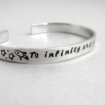 Personalized Toy Story Bracelet - To Infinity and Beyond - Hand Stamped Aluminum Cuff - customizable