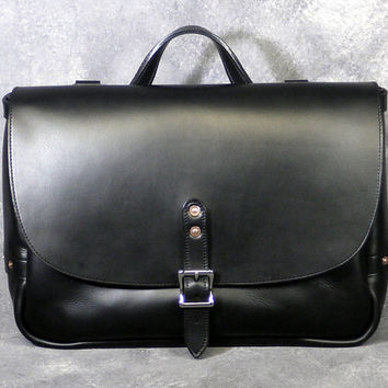 "Black Horween Leather 16"" Messenger Bag, Mail Bag, Wall Street Bag & Travel Tray Gift Set"