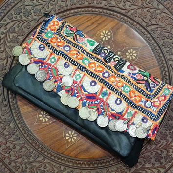 Gypsy Banjara Wallet, Tribal Banjara Clutch, Vintage Banjara Girl's Wallet, Handmade Clutch Bag, Women's Leather Clutch Purse
