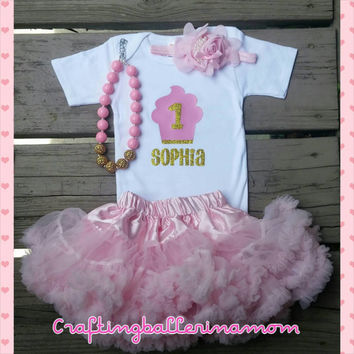 First Birthday Gold Pink Cupcake Onesuit - First Birthday Gold Glitter Outfit - One - Baby Girl First Birthday - Cupcake - Personalized
