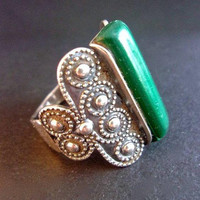Russian Malachite 875 Silver Ring, Retro Etruscan Scroll Work, Unique Vintage Sz 10