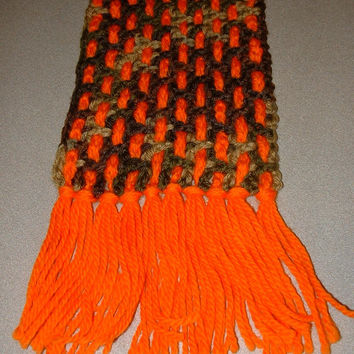 Orange & Camo Woven Crochet Scarf