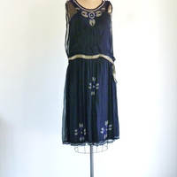 Midnight Blue Beaded Silk 1920s Dress Drop Waist Great Gatsby Flapper Dress S
