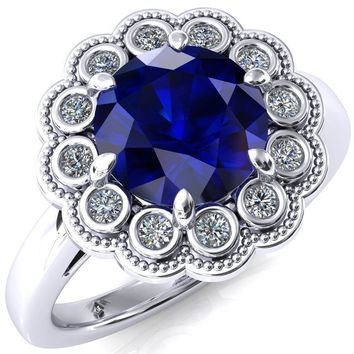 Zinnia Round Blue Sapphire 6 Prong Milgrain Diamond Halo Cathedral Engagement Ring