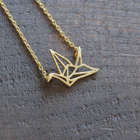 dainty origami crane necklace | gold