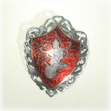 Sterling Brooch, Red Pin, Shield Brooch, Siam Sterling, Dancing Goddess, Mekhala, Lightning, Red Enamel, Open Work, Amfarco