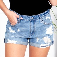Shredded Light Wash Denim Shorts