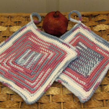 Kitchen Hanging Pot Holders - Set of 2 - Handmade In Berry Colors - Abstract Design In Tunisian Crochet In Cotton Yarn
