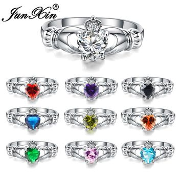 JUNXIN Luxury Female Heart Ring Claddagh Ring White Gold Filled Jewelry Fashion Wedding Rings For Women Birth Stone Gifts