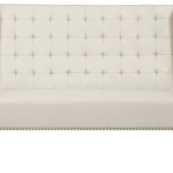 Halifax Cream Leather Banquette Bench