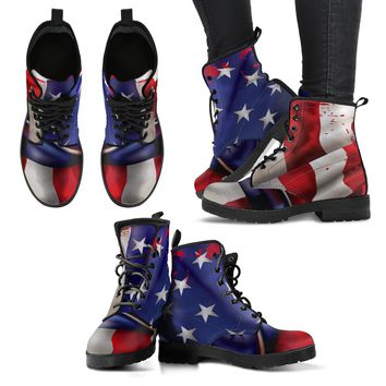 American Flag Leather Boots For Women