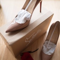 AUTHENTIC Christian Louboutin?Decollete 554 100mm Nude Patent Leather Pumps