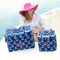 Custom Embroidered Monogram Small HOT PINK ANCHOR Nautical Cooler Tote Lunch Bag - Professional equipment used - Summer Tote