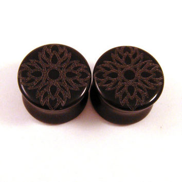 "3/4"" (19mm) 7/8"" (22mm) 1"" (25mm) Lotus Flower of Life Black Glass Plugs Opaque Ear Gauges"