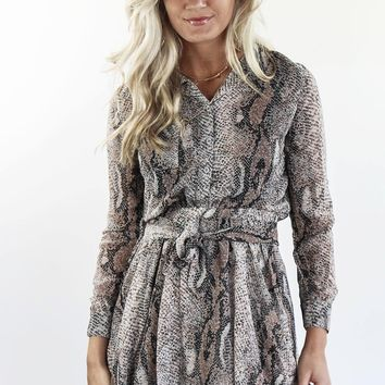 Gotta Have It Snake Print Long Sleeve Brown Mini Dress