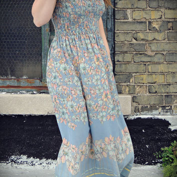 Floral Maxi Dress / Scarf Dress / Smocked Dress / Tube Dress / Pastel / Summer Dress / Day Dress / Boho Chic Maxi Dress / Prairie Dress