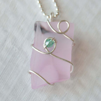 Light Pink Wire Wrapped Recycled Glass Necklace with a Green Crystal, Seaglass, Gifts under 20